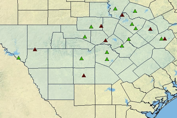 Static Image of South Texas Fire Weather Forecast Map